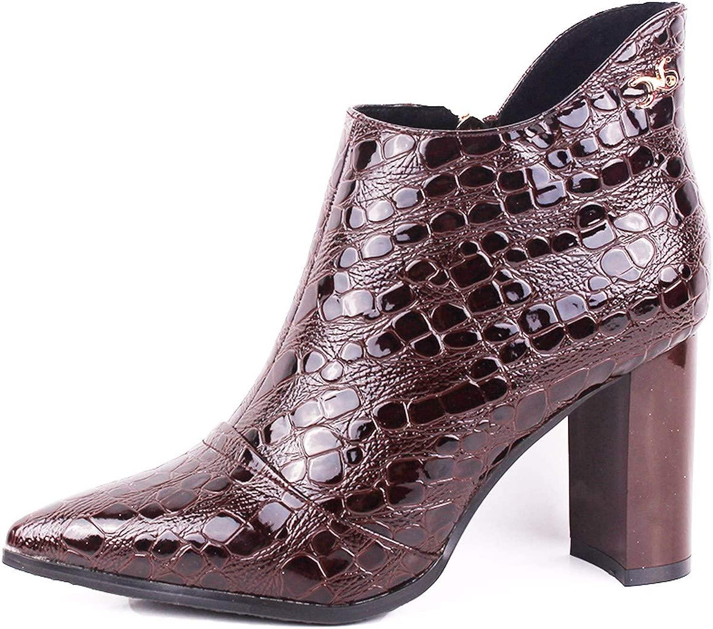 KOKQSX-Signore Gli Stivali Fatto di Cuoio lacca Moda Breve Stivali High Heeled Stivali.