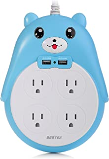 BESTEK Cute Surge Protector, 4-Outlet Surge Protector Power Strip with 2 USB Ports and 5.9 Foot Cord, 1875W&900 Joules