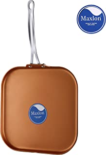 AMERICOOK 11 inch Copper Grill Pan, Ceramic Non-stick Griddle Pan for Pancake, Crepe, Baking and Omelette, Scratch Resistant, Oven Safe and Dishwasher Safe Frying Pan with Stainless Steel Handle