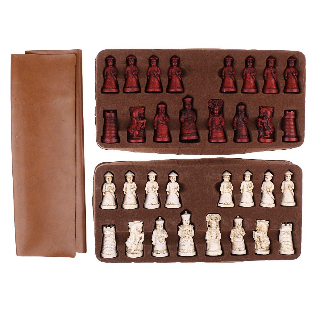 Baoblaze Ajedrez Piezas de Soldados Antiguos Hecho de Resina con Tablero de PU Cuero - 38 x 38 cm: Amazon.es: Juguetes y juegos