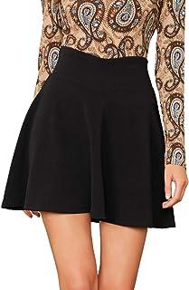 Women's Casual Zipper High Waist Flare A-Line Skater Cord Short Skirt