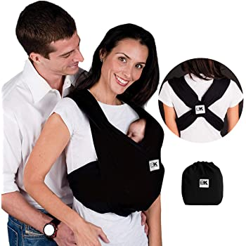 Baby K'tan Original Baby Wrap Carrier, Infant and Child Sling - Simple PreWrapped Holder for Babywearing -No Tying or Rings- Carry Newborn up to 35 lbs, Black, Women 2-4 (X-Small), Men jacket up to 36