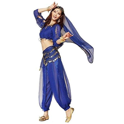 9642ab5afcba3 Best Dance Women's Belly Dance Costume 3-Pieces Lanterns Sleeves Top Harem  Pants Hip Scarf