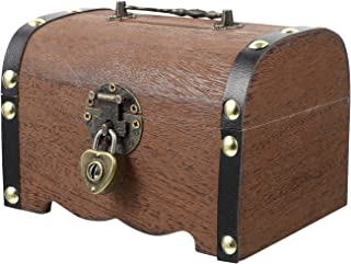 BESPORTBLE Wooden Treasure Chest Storage Box Vintage Jewelry Treasure Chest Case Money Box Piggy Bank Gift for Kids Adult