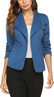 Dealwell Womens Casual Open Front Cotton Blazer Side Pockets Cardigan Jacket