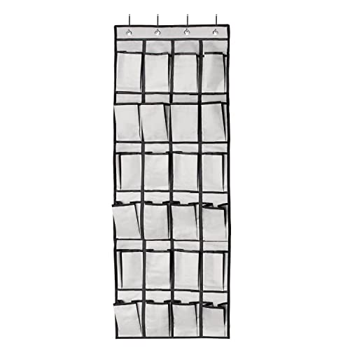 FAMLOVE Over the Door Shoe Organizer, 24 Slots Hanging Shoe Organizer Reinforced 600D Oxford Fabric Hanging Storage Rack Hanging Closet Storage Organizer for Bedroom, Baby Room, Kitchen, Office (Grey)