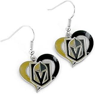 NHL Vegas Golden Knights Swirl Heart Earrings