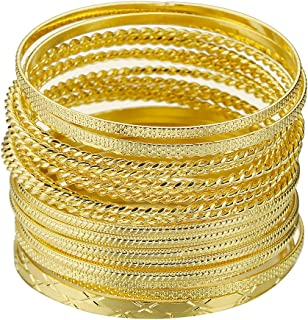 Mixed Metal Textured Multiple Bangles&Bracelets Set 23pc/Set 2.68