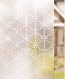 Window Films Frosted Glass Film,Privacy, Non-Adhesive Static Cling Decorative White Frosted