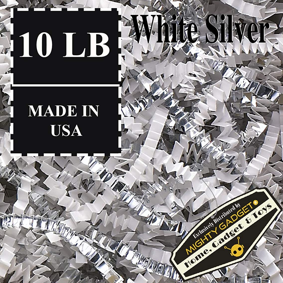 Mighty Gadget (R) 10 LB Premium White Silver Metallic Mix Crinkle Cut Paper Shred Filler for Gift Wrapping & Basket Filling