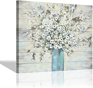 Abstract Blooms Canvas Wall Art - Bouquet in Glass Vase Painting Print on Wrapped Canvas for Living Room (24'' x 18'' x 1 Panel)
