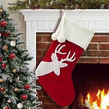 S-DEAL - Calcetín de Navidad de 20.5in con pompones blancos para decoración de fiestas de Navidad