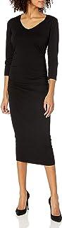 Michael Stars Women's Cotton Lycra 3/4 Sleeve Ruched Midi Dress