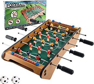 Foosball Tabletop Game,Wooden Tabletop Football Foosball, Easily Assemble Wooden Soccer Game Table Top with Two Balls and ...