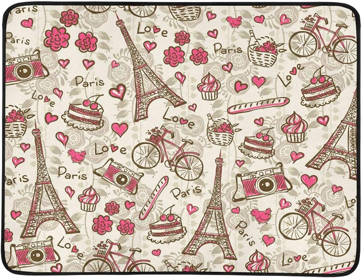 Vintage Paris Eiffel Tower and Hearts Pattern Portable and Foldable Blanket Mat 60x78 Inch Handy Mat for Camping Picnic Beach Indoor Outdoor Travel