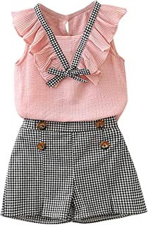 Kid Toddler Baby Girls Spring Summer Outfit Sleeveless Bowknot Vest Plaid Shorts Clothes Set