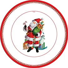 Entertaining with Caspari Set of 2 Coming To Town Santa Dinner Plates, 16 Plates Total