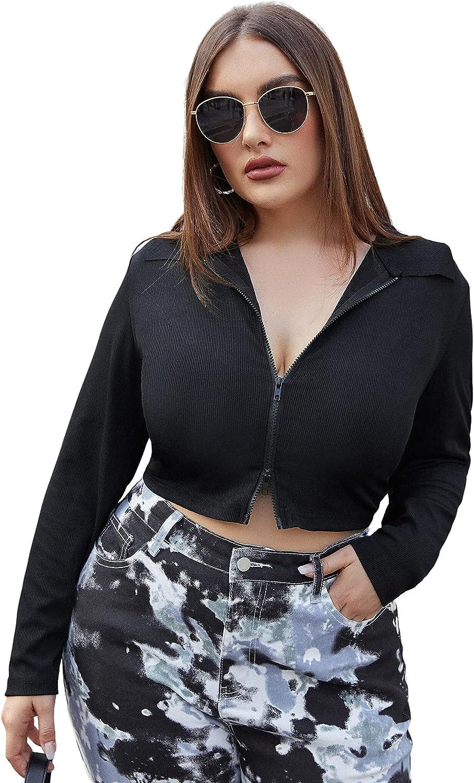 MakeMeChic Women's Plus Zip Up Long Sleeve V Neck Rib Knit Crop Tee Top