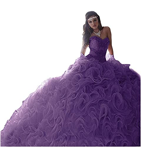 aea28d45af HeleneBridal 2019 Women s Sweetheart Beading Quinceanera Dresses for Sweet  16 Organza Ruffles Prom Ball Gowns