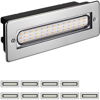 Parlat LED lámpara de Escalera lámpara empotrable en la Pared para el Exterior Angular 20x7cm 230V Blanca cálida, 10 UDS: Amazon.es: Electrónica