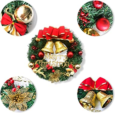 YYYux Christmas Wreath, 13 Inch Pine Artificial Christmas Hanging Wreath Garland with Bowknot Bells Deer Red Berries Flower Gifts for Christmas Party Decor Front Door Window Ornament (Red)