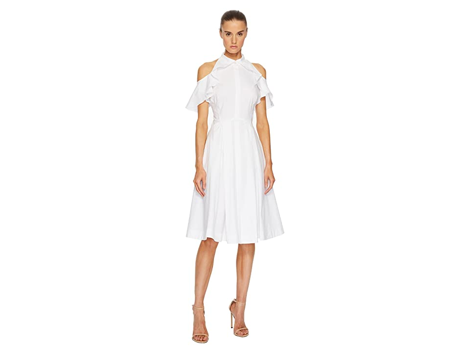 Zac Posen Cotton Poplin Cold Shoulder Dress (White) Women