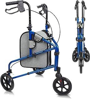 Vive Mobility 3 Wheel Rollator Walker - Lightweight and Foldable for Seniors, Elderly, Men, Women - Folding Heavy Duty Tr...