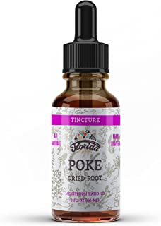 Poke Tincture, Organic Poke Extract (Phytolacca Americana) Dried Root, Non-GMO in Cold-Pressed Organic Vegetable Glycerin, Florida Herbs Supplements