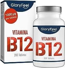 GloryFeel® Vitamina B12 Sublingual 1000mcg - 200 tabletas veganas de metilcobalamina - B12 Apoya el sistema inmunológico, disminuye el cansancio y la fatiga - Sin aditivos fabricado en Alemania