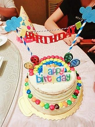 PuTwo Birthday Decoration Cake Decorating Picks, Blue