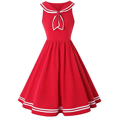 4c114f4c13 ZAFUL Women Vintage Dress 1950s Nautical Style Summer Sailor Collar  Sleeveless Cute Cocktail Party Swing Dresses