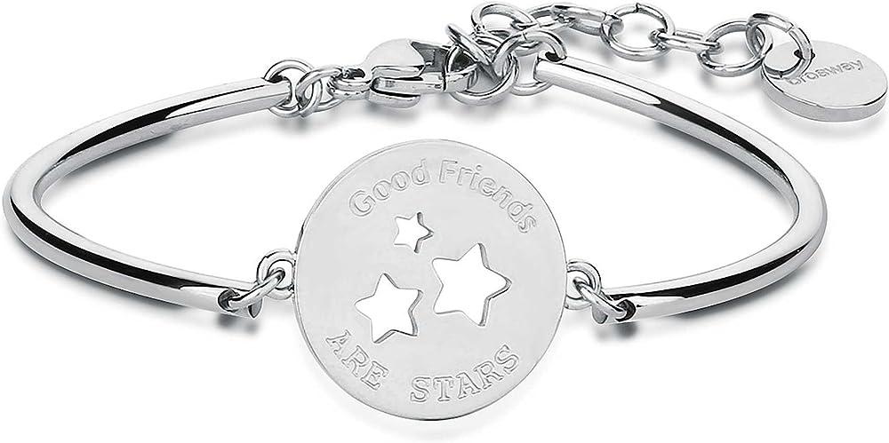 Brosway bracciale rigido per donna  in acciaio con piastrina incisa con stella 8053851011437