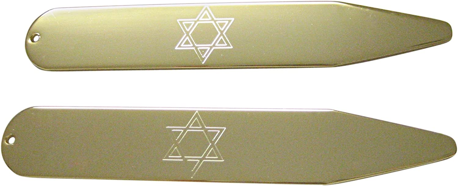Gold Toned Etched Religious Star of David Collar Stays