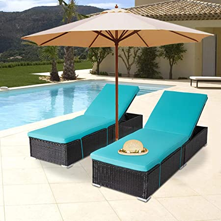 Amazon Com Outdoor Pe Wicker Chaise Lounge 2 Piece Patio Reclining Chair Furniture Set Pool Deck Adjustable Backrest Recliners With Blue Cushions Kitchen Dining