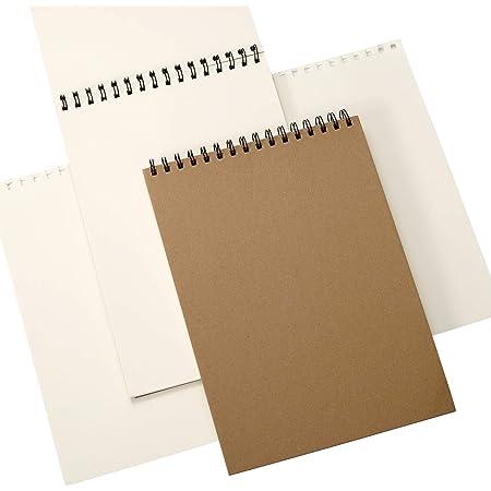 ZITFRI 2 Pcs Cahiers de dessin A4 120 pages Carnet Croquis Reliure Spirale en 180 GSM avec Couverture Kraft Bloc à Dessin Carnet Aquarelle pour Crayon de Couleur Pastel