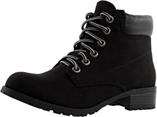 SODA Women's Equity Faux Suede Chic Work Boots Lace Up Ankle Booties