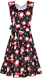 Women's Christmas Sleeveless Flare Cocktail Dress with Pocket