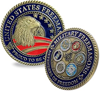 Freemasons Proud Military Family Challenge Coin Blue Lodge of Masonic Veteran Collection Gift