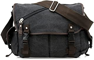 Oct17 Men Messenger Bag School Shoulder Canvas Bag Vintage Crossbody Satchel Laptop Business Bags - Black