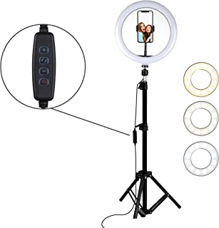 """Aduro U-Stream 10"""" Selfie Ring Light with Phone Tripod Stand (18"""" to 52"""" Adjustable Height) Holder, Social Media Influencer Live-Streaming Phone Mount and Light Kit"""