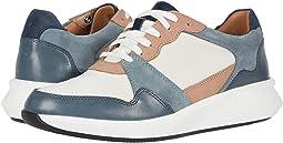 White/Blue Textile/Suede Combi