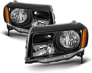 Fits 2012 2013 2014 2015 Honda Pilot [Halogen Type] Black Headlights Pair Driver Left+Passenger Right Replacement