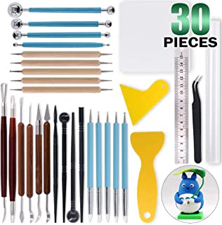 Keadic 30Pcs Polymer Modeling Clay Sculpting Tools Set for Cake Fondant Decoration, Nail Art, Pottery Clay Craft and Other DIY Handicraft