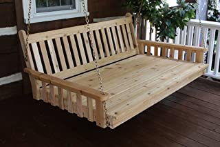 Outdoor 6' Traditional English Swing Bed - Oversized Porch SwingUnfinished Pine Amish Made USA