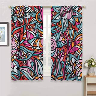 Jinguizi Abstract Curtain Panels Colorful Florals Sunflower Mosaic Curl Ornaments Stained Glass Inspired Design Curtains for Bedroom Multicolor 108 x 72 inch