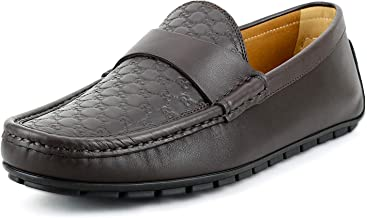 Gucci Men's Microguccissima Leather Full Bottom Driver, Coffee (Brown)