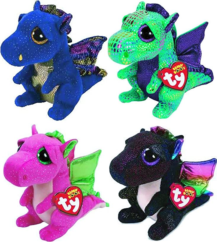 Ty Beanie Boos 4 Piece Dragon Set: Cinder, Darla, Saffire and Anora
