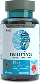 Nootropic Brain Support Supplement - NEURIVA Plus Strawberry Gummies (50 Count in a Bottle) Phosphatidylserine, B6, B12 - ...
