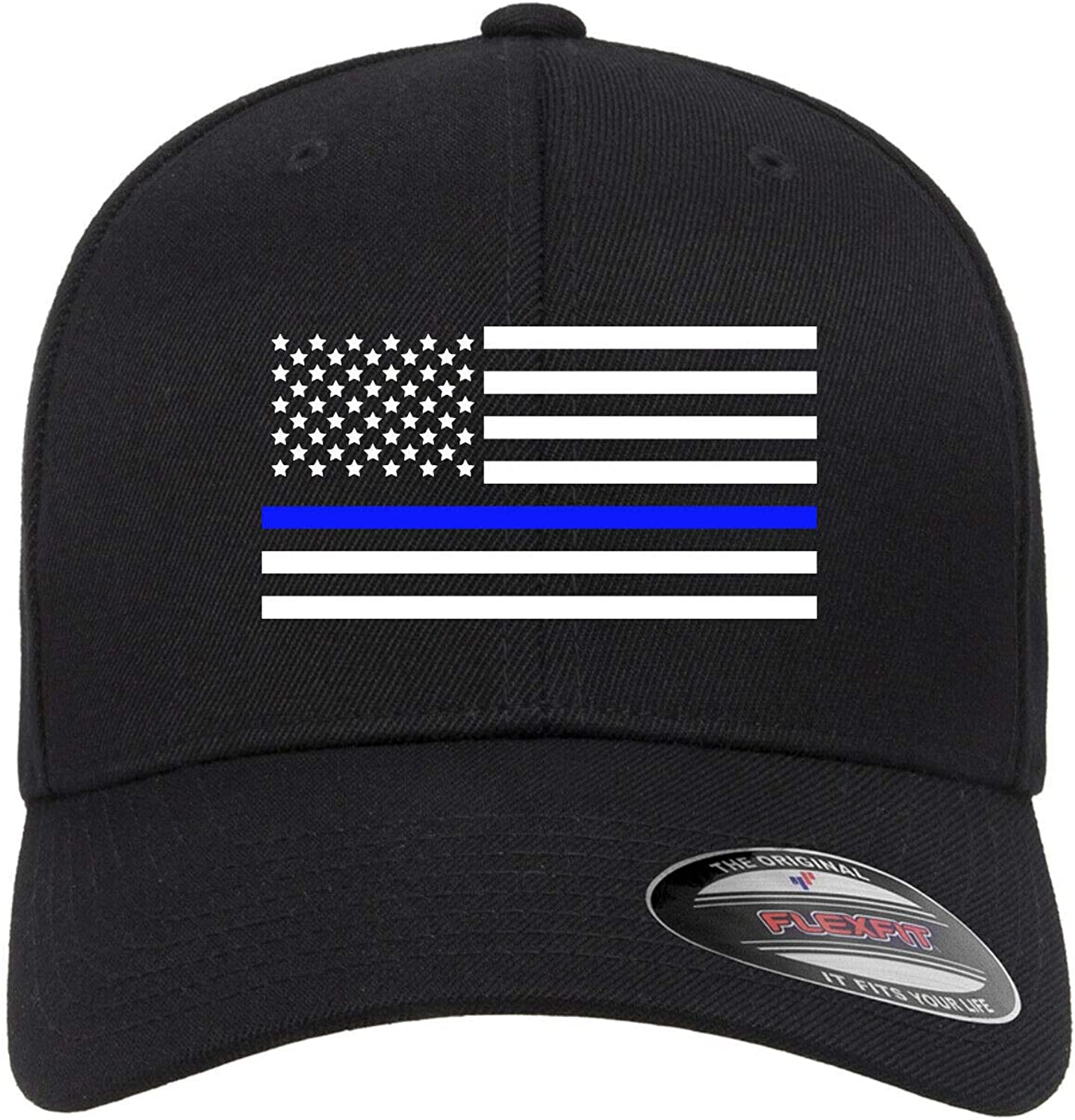 American Flag Thin Be super welcome Blue Line Embroidered Ba Sales results No. 1 Black Fitted Flexfit