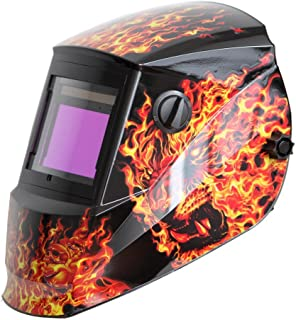 Antra AH6-660-6104 Solar Power Auto Darkening Welding Helmet with AntFi X60-6 Wide Shade Range 4/5-9/9-13 with Grinding Feature Extra Lens Covers Good for TIG MIG MMA Plasma